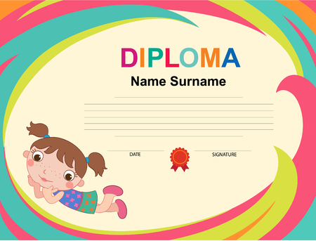 Kids Diploma certificate background design template Banque d'images
