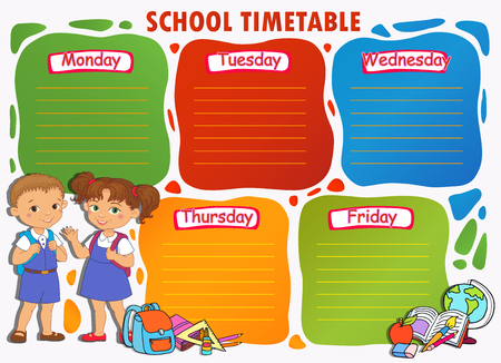 School timetable schedule with pupil Mexican vector illustration.