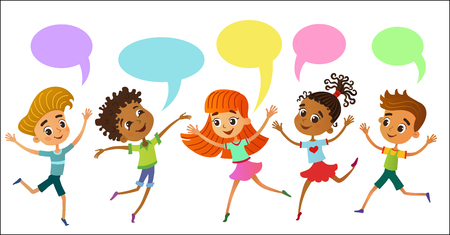 children are jumping ob summer background bunner cartoon funny Ready for your message vector character. illustration Imagens - 109825094