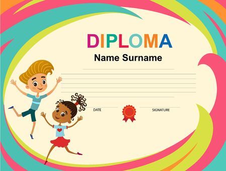 Kids Diploma certificate background design template vector Banque d'images