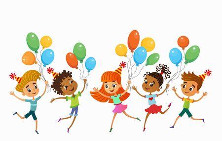 children are jumping ob summer background bunner cartoon funny vector character. illustration