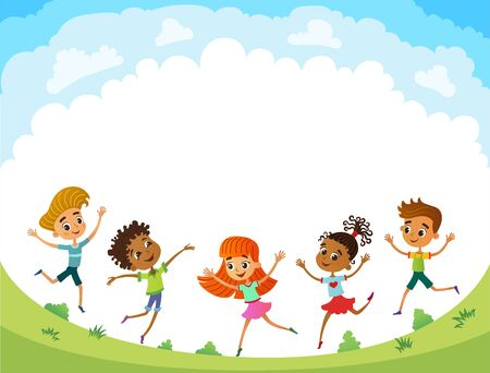 children are jumping on the glade, bunner cartoon funny vector, illustration