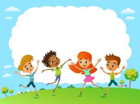 Globe kids. Children Earth day. Vector Imagens