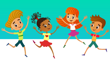 isolated collection of happy children kids in different positions vector illustration