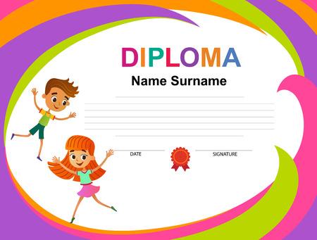 Kids Diploma certificate background design template vector illustration Illustration