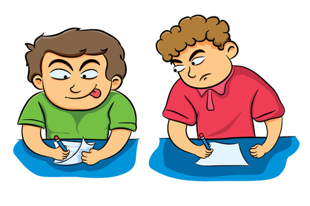 cheat: Student Cheat a friend Illustration