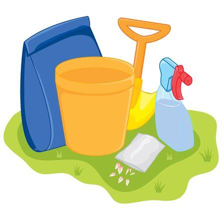 fertilizers: Gardening Tools Illustration