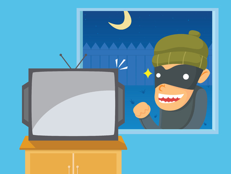 cartoons television: Thief Want to Steal Television Illustration