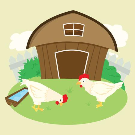 crowing: Vector Chicken Farm