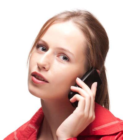 Young woman having phone conversation Stock Photo - 8181163