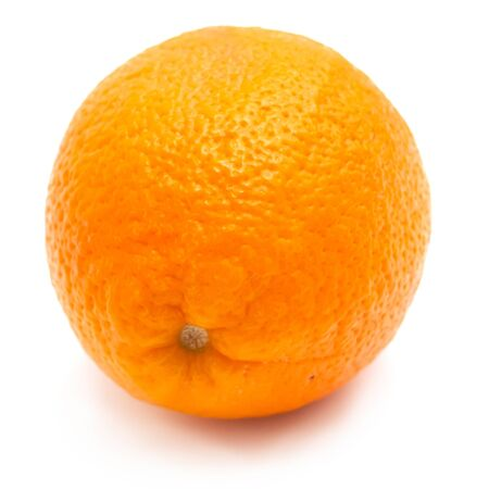 Single orange on white background photo