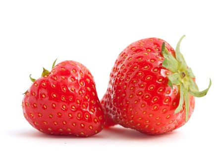 Two nice strawberries on white background
