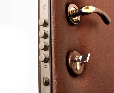 Opened door covered with leather on white background Stock Photo