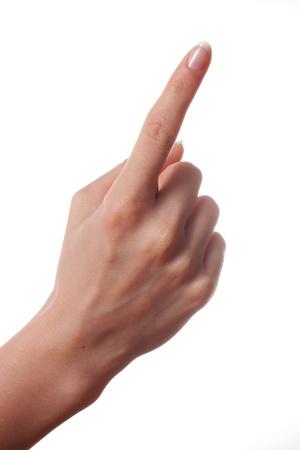 dedo indice: Mano de la mujer con el dedo �ndice hacia arriba o mostrar n�mero uno
