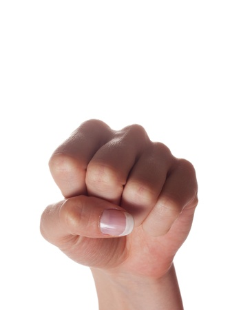 closed fist sign: Woman fist pointing up on white background