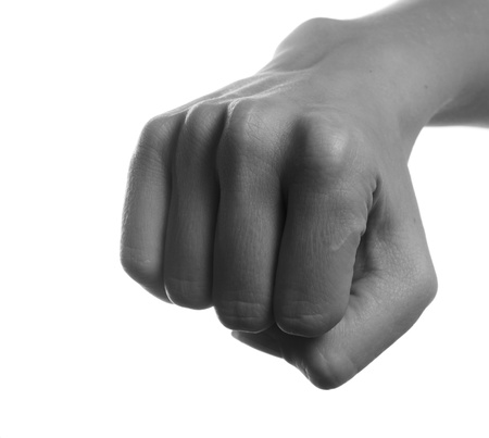 closed fist sign: Monochrome woman fist on white background