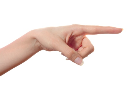 Woman hand pointing to the right isolated Stock Photo - 9234299