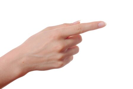 Woman hand poiting direction isolated
