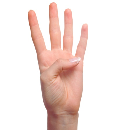 counting: Woman hand showing number four isolated