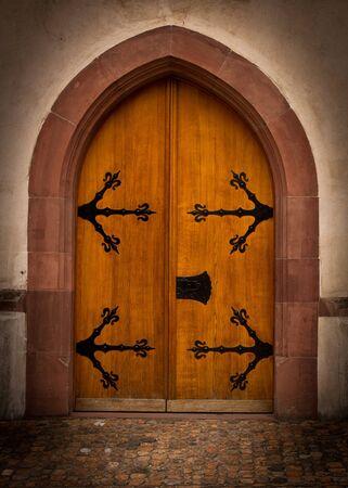 Old castle wooden doorway Stock Photo
