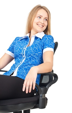 Business woman sitting relaxed in office chair Stock Photo - 9669246