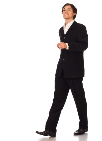 person walking: Business man walking on white background