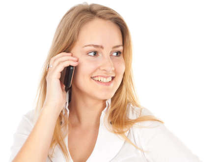 Young business woman smiling and holding phone Stock Photo - 9669166
