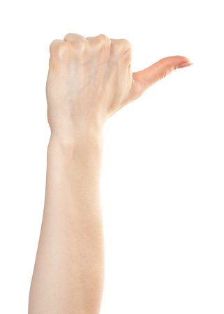 Woman hand pointing right with a thumb Stock Photo - 9885133