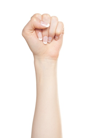 Woman hand with fingers folded into a fist pointing up