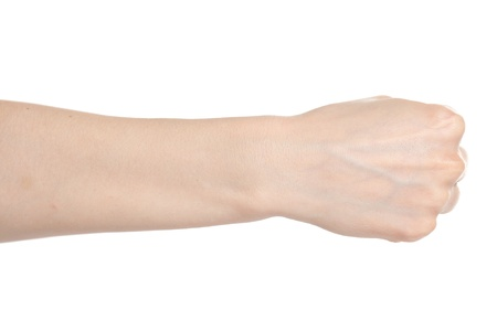 wrist: Woman hand with fingers folded into a fist
