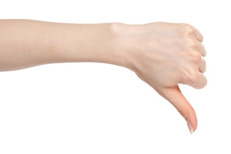 Woman hand showing fail gesture with thumb down