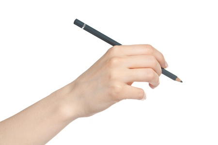Woman hand holding pencil before writing