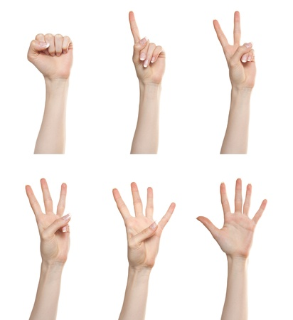 four hands: Woman hand gesture set counting numbers from zero to five