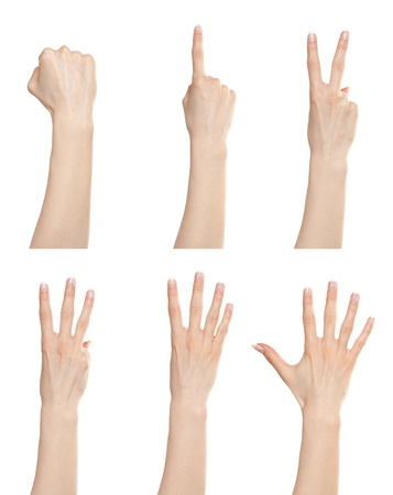 one finger: Woman hand gesture set counting numbers from zero to five