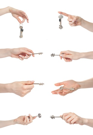 Woman hand gesture set holding keys photo