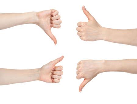 pulgar abajo: Gesto de mano de mujer con pulgares arriba y abajo aislados