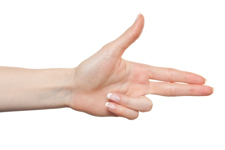 Woman hand pointing to the right with two fingers Stock Photo - 9885057