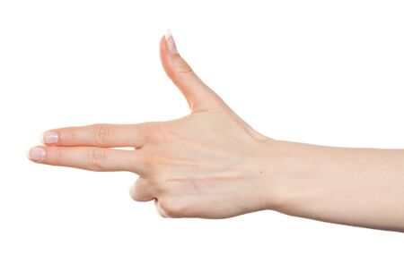Woman hand pointing to the left with two fingers Stock Photo - 9885082