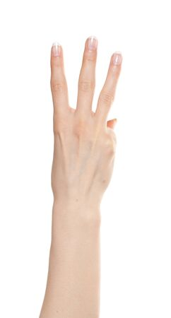 Woman hand showing number three Stock Photo - 9885060