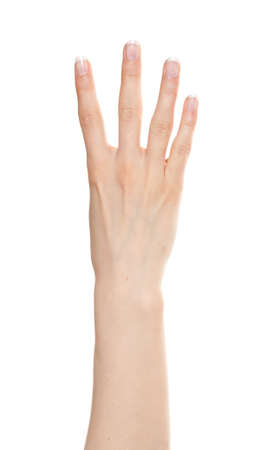 Woman hand showing number four