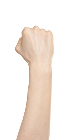 Woman hand in fist isolated on white Stock Photo