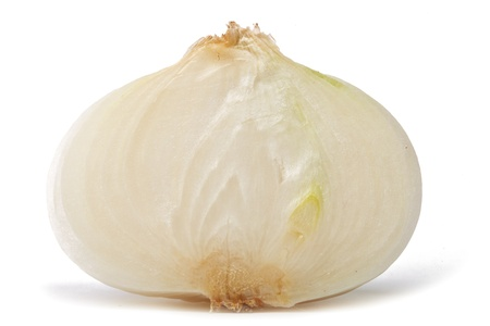 onion peel: Sliced white onion isolated on white background with shadow Stock Photo