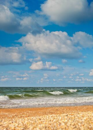 azov: Sea of Azov beach and sky with high clouds background Stock Photo