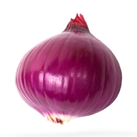 onion peel: Sliced and peeled red onion isolated on white background Stock Photo