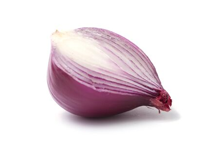 onion peel: Sliced and peeled red onion isolated on white background with shadow