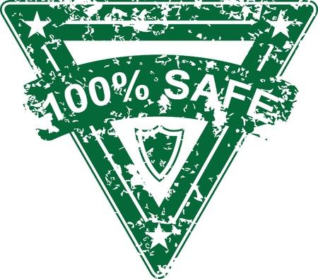 Vintage vector 100% safe rubber stamp