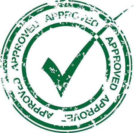 sello de goma: Vector vendimia aprobado sello de goma