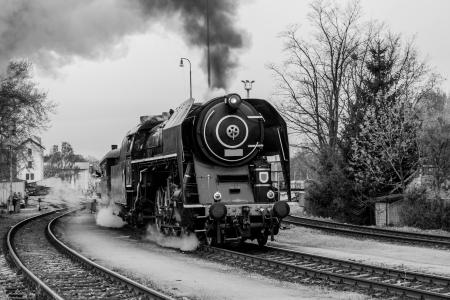 Old steam train in black and white Standard-Bild
