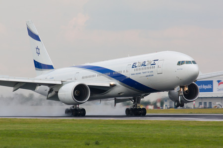 best security: PRAGUE - JULY 10:B777 El Al lands PRG in Prague, CZE on July 10, 2010. EL AL has one of the best safety and tight security in the industry Editorial