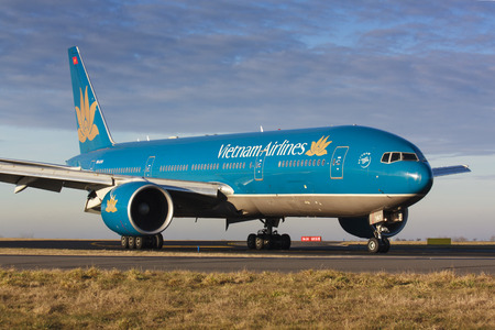 exists: PRAGUE - JANUARY: B777 Vietnam Airlines after landing in PRG in Prague, CZE on January 7, 2014. Vietnam Airlines exists since 1956 and has 71 aircraft in its fleet.